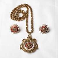 Vintage 1927 Coro Prin Noi Insine Necklace + Earrings 1920s Order of the Crown Romania Enamel Gold Tone Pendant Costume Jewelry Set