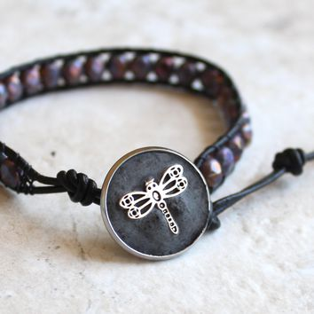 Heather Czech glass, leather wrap, bracelet with dragonfly button closure
