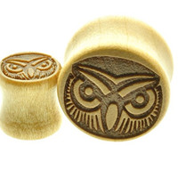 "Wooden Ear Plug with Engraved OWL Design Sold As a Pair -00 Gauge -1/2"" - 9/16"" - 5/8"" - 11/16"""