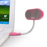 JLab USB Laptop Speakers - Portable, Compact, Travel Notebook Speaker for Windows PC and Mac - B-Flex Hi-Fi Stereo USB Laptop Speaker - Cotton Candy Pink