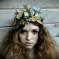 May Queen FRENCH TIARA Garland Antique gold band with vintage roses flowers leaves millinery Wedding Bridal Woodland Nymph Pagan Fairytale