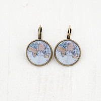 Old Blue World Map Earrings - Globe Photo Image Jewelry Earrings - Antique Atlas Picture Earrings - Gift for Women Explorer and Traveler