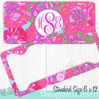 Pink Red Flowers Monogram License Plate Frame Holder Cover Metal Sign Car Tags Personalized Custom Vanity Mint Floral Lilly Inspired