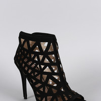 Qupid Nubuck Cutout Peep Toe Stiletto Bootie