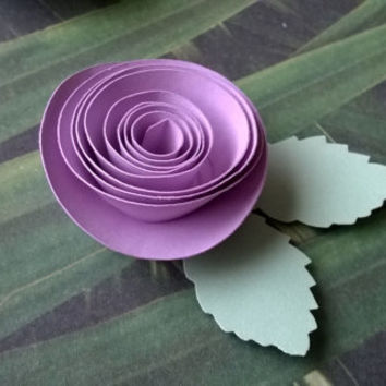 lilac purple rose boutonniere groomsman pin back groom paper flower lapel brooch bridal party bridal shower wedding reception family favors