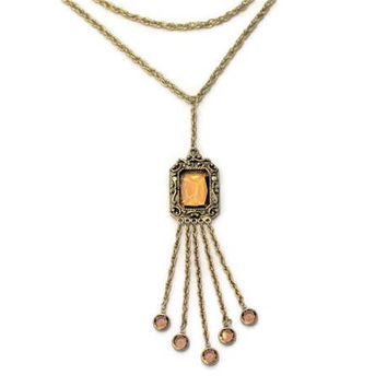 Long Double Chain Amber Glass Tassel Necklace, One of A Kind