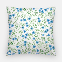 "Throw Pillow Case Watercolor Throw Pillow Cover - Home Decor Cottage Decor ""Prairie Flowers"" Blue Green Watercolor Pillow Case 16x16 