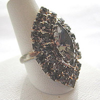 Adjustable Vintage Smoke Rhinestone Cocktail Ring