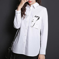 Cotton Portrait Print Pockets Turn-down Collar Single-Breasted Blouse
