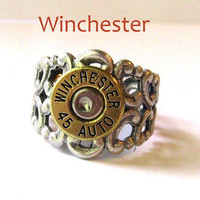 Winchester Bullet Ring 45 Auto Gorgeous mixed metals filigree