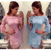Hot Popular Autumn Winter Women Hollow Bandage Lace Pink Long Sleeve Round Necked One Piece Dress a13085