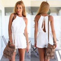 Plain Halter Neck Sleeveless Romper