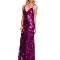 PRIMA Glitz GZ1505 Long Sequin Homecoming or Prom Dress Open Back