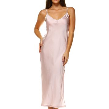 Women V Neck bias Cut Satin Camisole Maxi Full Slip Dress