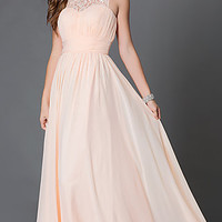 Long Sleeveless Corset Dress with Ruched and Lace Bodice