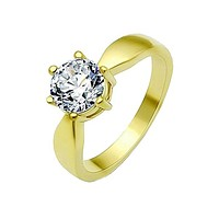 Sweeter Than Fiction - 1.28 CT. Equivalent Round Cut Center Stone And Gold Stainless Steel Band