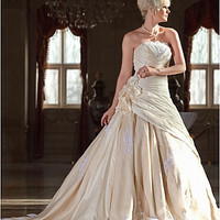 A-line Strapless Cathedral Train Taffeta Wedding Dress with Flowers #00164197