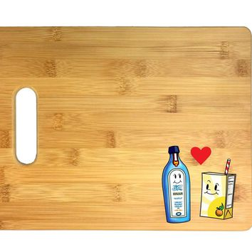 Gin Loves Orange Juice Cute Humor Design 3D COLOR Printed Bamboo Cutting Board - Wedding, Housewarming, Anniversary, Birthday, Mother's Day, Gift