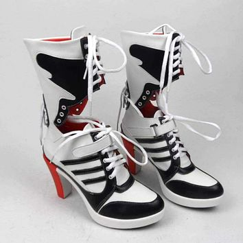 suicide squad harley quinn boots bota accessories black women Halloween Cosplay Boots Shoes