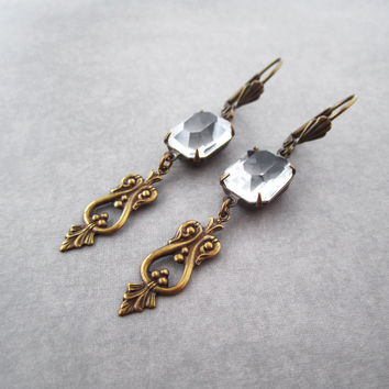 Art Deco Earrings -  Crystal Clear Vintage Octagon Glass - Bridal Bridesmaid Jewelry