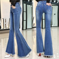Plus Size Women's Fashion Stretch Jeans High Waist Denim Loudspeaker [73421488154]