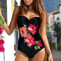 Summer New Fashion Vest Floral Print One Piece Bikini Swimsuit