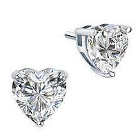 Perfect 3CT Heart Cut Russian Lab Diamond Stud Earrings