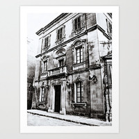 Old Building in Valletta Art Print, Black and White Gray , Wall Art, Home Decor, Landscape Photography, Urban Photography, Gray Photo