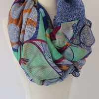 Chunky MuiltiColor Scarf- MultiColor Infinity Scarf - Blue Loop Scarf, Circle Scarf - Handmade Women's Accessory