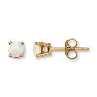Lab-Created Opal Earrings Round-Cut 14K Yellow Gold