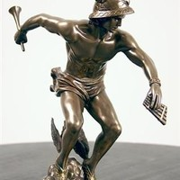 Hermes Mercury Preparing for Flight Statue, Bronze Finish 9H