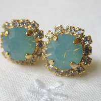 Chalcedony blue mint Swarovski crystal post earrings, Gold post earrings, Crystal earrings, Stud earrings, Bridal earrings, Bridesmaid gifts