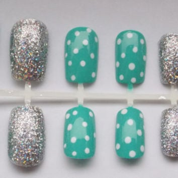 Teal and Silver Glitter Nautical Fake Nails - False, Artificial, Acrylic, Press-On
