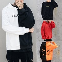 Free delivery Hoodie Men Teen's Smiling Face Fashion Print Hoodie Sweatshirt Jacket Pullover
