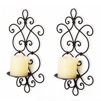 Furnistar Decorative Iron Pillar Candle Sconce (Set of 2 - Hold 1 Pillar Candle each)