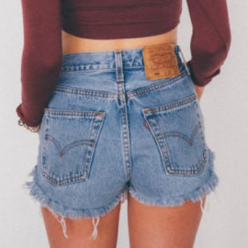 "Vintage Levi High Waisted Denim Cut Off Shorts - Sizes 24""- 33"" - Original Levi's 501 - Frayed and Distressed Summer Festival Shorts"
