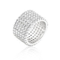 Silvertone Finishd Wide Pave Cubic Zirconia Ring, size : 07