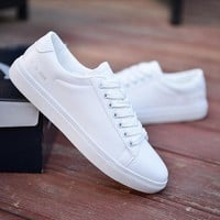 Skateboarding Shoes Fitness Student Shoes Man Boys Pu Leather White Shoes For Men Trendy Sports Vogue Flat Breathable Men Shoes