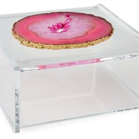 Acrylic Box w/ Pink Agate, Large, Boxes