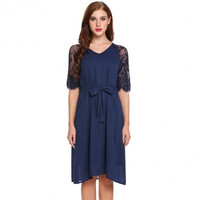 Women Casual V-Neck Half Sleeve Patchwork Lace Pleated Dress