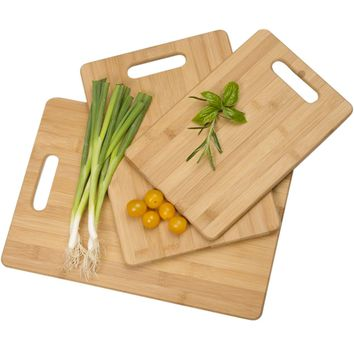 Evelots 3 Piece Bamboo Cutting Board Set -  Cooking, Grilling, Prepping