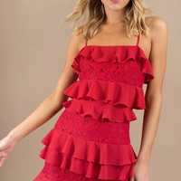 Kiss The Night Ruffle Shift Dress