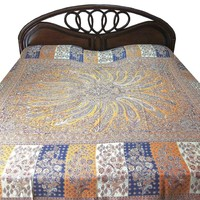 Pashmina Indian Bedding Saffron Indigo Medallion Bedspreads Blanket Throw