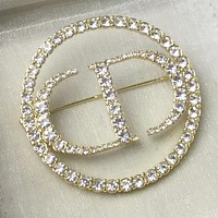 Dior New fashion diamond letter round brooch women