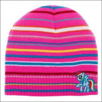My Little Pony Rainbow Dash Cosplay Costume Striped Knit Beanie Cap Hat OFFICIAL