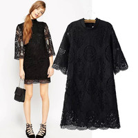 Stylish High Neck Three-quarter Sleeve Hollow Out Lace Women's Fashion One Piece Dress [4914988100]