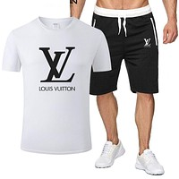 Louis Vuitton LV Classic hot sale printed letter logo hooded T-shirt Shorts two-piece suit White