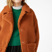 Faux shearling coat - Hello pumpkin! - Coats & Jackets - Monki GB