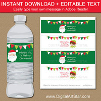 PRINTABLE Christmas Water Bottle Labels - Editable Santa Water Bottle Labels - Elf Party Decor - Downloadable Christmas Label Template C2