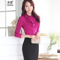 women's clothing Ruffles long sleeve blouse summer OL business Formal shirts slim office plus size 4XL 5XL work wear tops